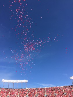 Balloons released at a KC Chiefs Game.  Photo by Linda Williams